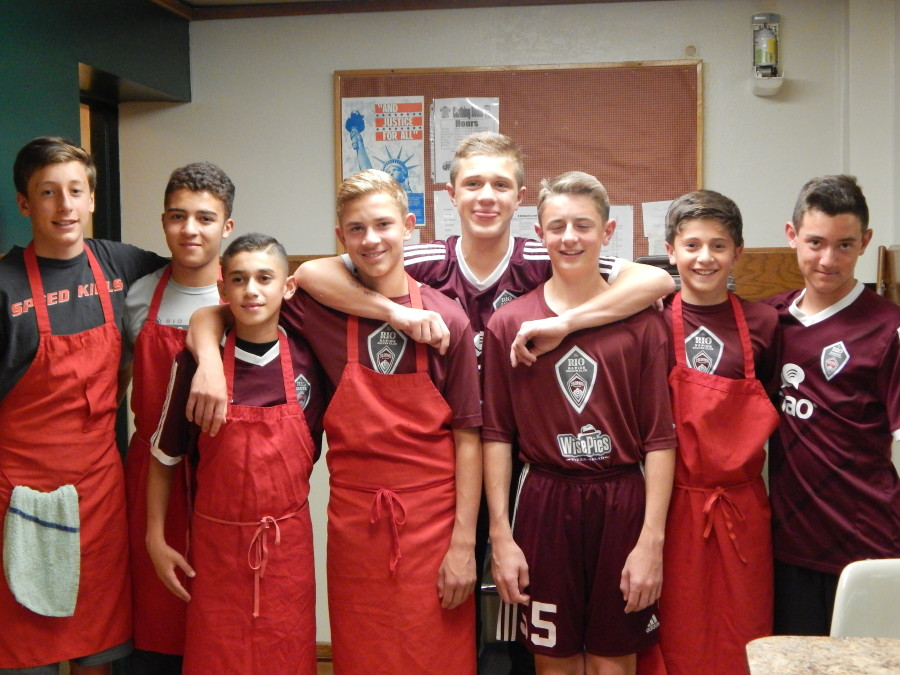 Rio scorpions '01 team helped at the little brothers of the good shepherd center on wednesday april 29, 2015
