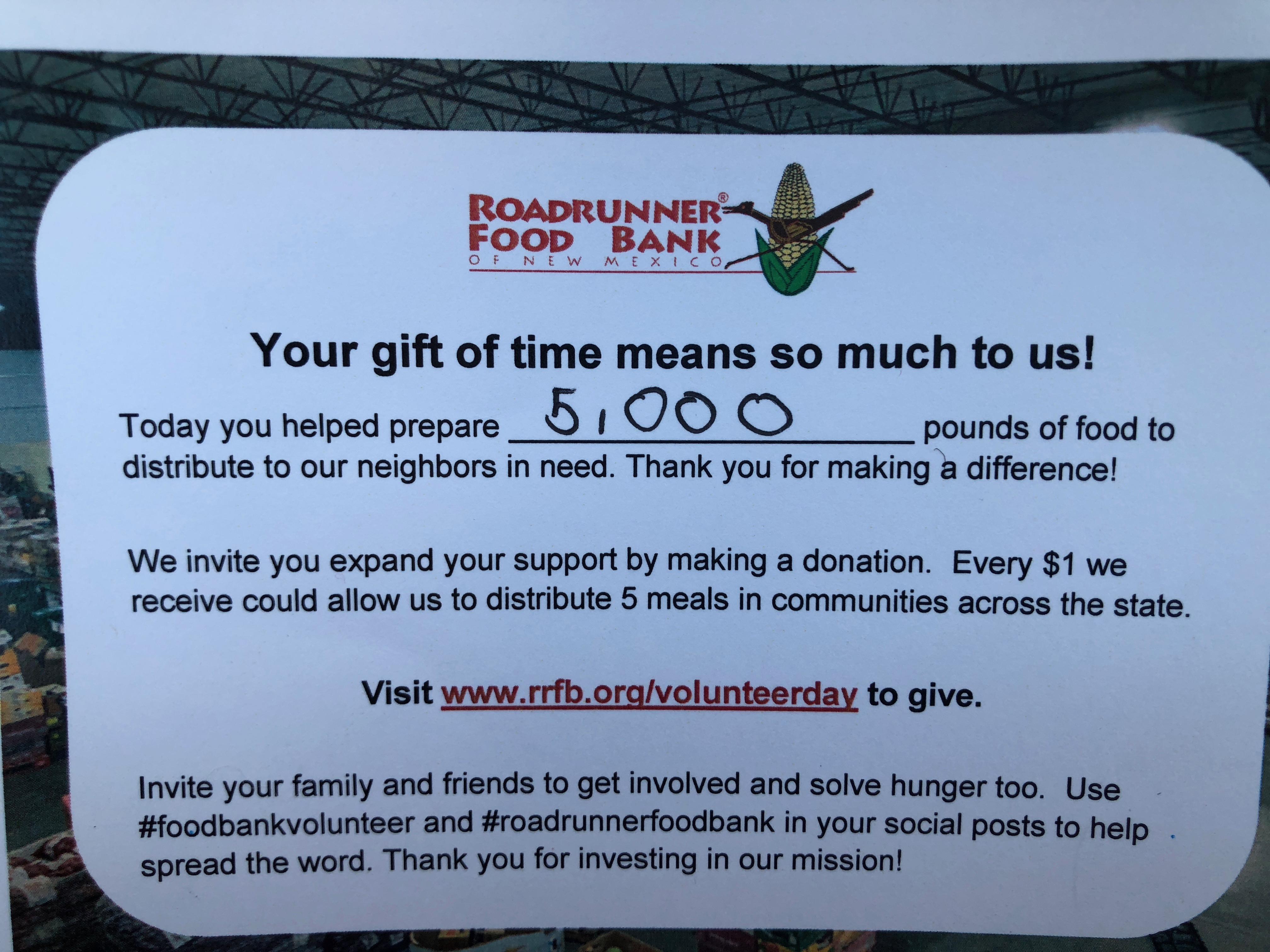 Rio/roadrunner food bank community service
